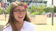 Sophie Kamlish wins gold medal Sophie Kamlish setup shot with reporter / interview SOT