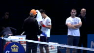 Andy Murray and Novak Djokovic practicing ENGLAND London INT Novak Djokovic practicing at the ATP World Tour finals / Andy Murray along with coach...