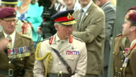 World War II 70th Anniversary of DDay landings Prince Charles watches parachute drop FRANCE Normandy Ranville EXT Prince Charles Prince of Wales with...