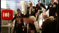 World War II British and Russian veterans mark Victory Day on HMS Belfast ENGLAND London River Thames EXT Plaque on HMS Belfast in English and...