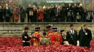 World War One Centenary Armistice Day commemorations Tower of London ceremony GVs Ceramic poppies / GVs 13 year old cadet Harry Hayes standing for...