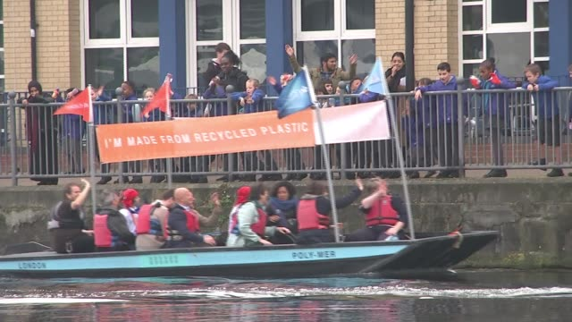 World's first recycled plastic waste boat 'Poly Mer' sets sail on 'plastic fishing' trips ENGLAND London Docklands EXT Mark Edwards interview SOT...