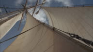 Worm's-eye shot of the sails and mast of a sailing ship.