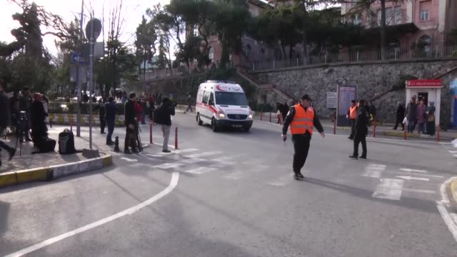 Wounded people are taken to Istanbul University Capa Medical Faculty Hospital after a large explosion hit the historic Sultanahmet district on...