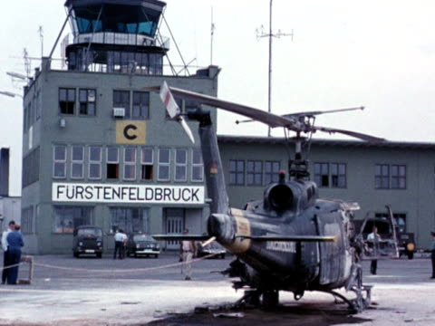 Wrecked helicopters at Munich airport following failed mission to rescue Israeli Olympic athletes kidnapped by the Black September group 7 September...