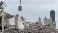 MS Wrecking ball crushing rubble / Chicago, Illinois, USA