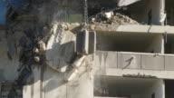 MS Wrecking ball demolishing building / Chicago, Illinois, USA