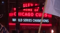 WGN Wrigley Field Marquee on Night of Chicago Cubs' World Series Win on Nov 2 2016