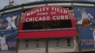 WGN Wrigley Field Sign On Opening Day at Wrigley Field on April 08 2013 in Chicago Illinois