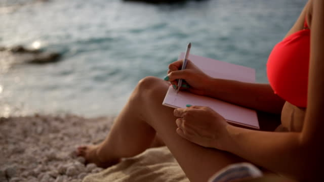 Writing on the beach