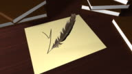 Writing 'Yes' with a quill pen