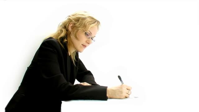 Writting businesswoman on white background