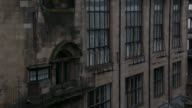 Wrought iron guards cover the windows on the Glasgow School of Art building. Available in HD.