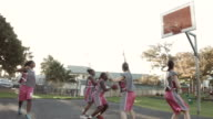 WS_STEADYCAM_Female basket team playing street basket