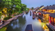 T/L WS HA PAN Xitang Watertown Dusk to Night Transition / Jiashan, China