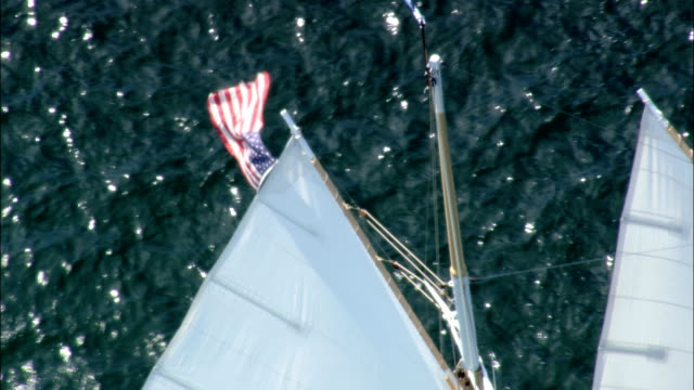 Yacht Under Sail  - Aerial View - Rhode Island, Newport County, United States