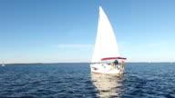 Yacht under sail.