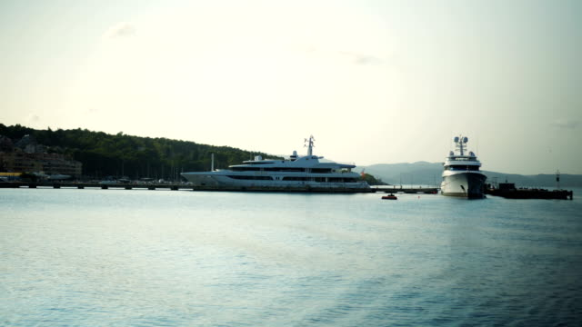 Yachts anchored in the harbor