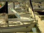 Yachts and speedboats moored in Marina de Lagos.