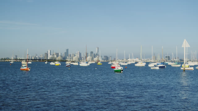 Yachts at Williams Town and the Skyline of Melbourne, Victoria, Australia