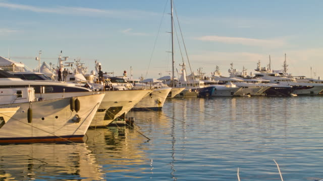 Yachts moored in a marina at Cannes, France