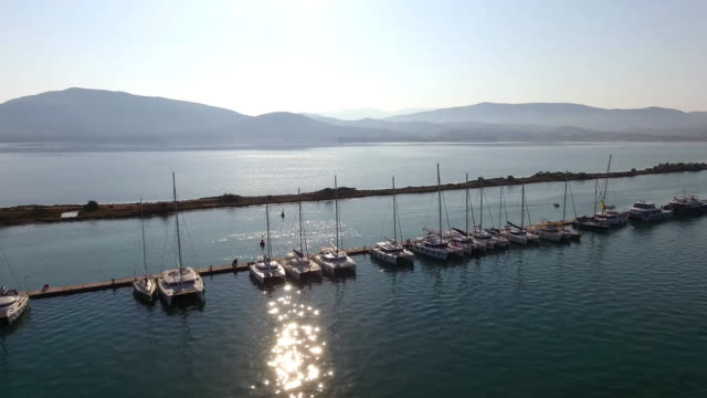 Yachts parking aerial view