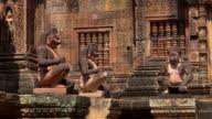ZO / Yaksha guardian statues at Mandapa and Prasat of Banteay Srei