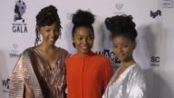 Yara Shahidi and Chloe Bailey and Halle Bailey of Chloe X Halle at The Wearable Art Gala at California African American Museum on April 29 2017 in...