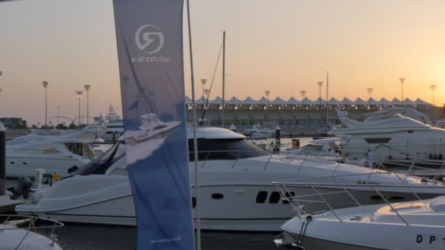 Yas Viceroy Abu Dhabi Hotel and Yas Marina at sunset, Yas Island, Abu Dhabi, United Arab Emirates, Middle East, Asia