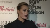 Yasmin Le Bon on her advice to young girls starting modelling career at Vogue Fashion Night Out at Westfield on September 06 2012 in London England