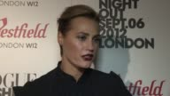 Yasmin Le Bon on what she is excited to see on London Fashion Week SS13 at Vogue Fashion Night Out at Westfield on September 06 2012 in London England