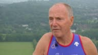 81 year old training to compete in Triathalon World Championships ENGLAND Surrey Box Hill EXT Jim McKellar interview SOT McKellar swimming in pool...