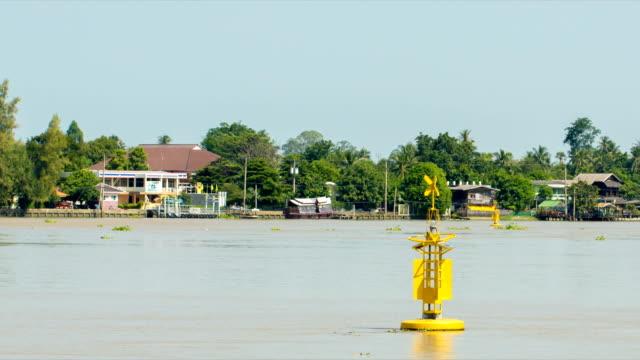 Yellow Buoy warning floating in Chao Phraya river, Nonthaburi, Thailand