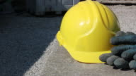 Yellow hard hat and gloves - HD & PAL
