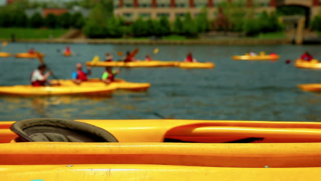 Yellow kayak near the river - close up background