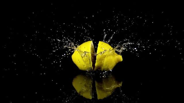 Yellow Lemons, citrus limonum, Fruits falling on Water and splashing against Black Background, Slow Motion