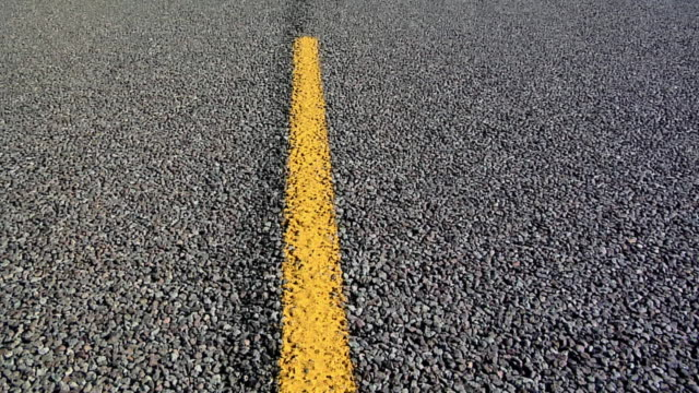 ECU Yellow marking on rural road in South Dakota, USA
