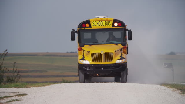 Yellow school bus on a gravel road stops at the top of a country road, lights flashing with the stop sign.