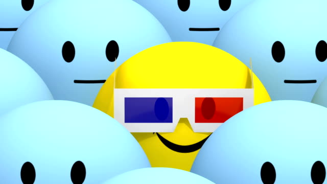yellow smiley with 3d glasses at cimena