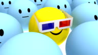 yellow smiley with anaglyph 3d glasses at cinema