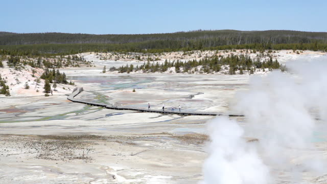 yellowstone national park - tourists walking amongst geysers