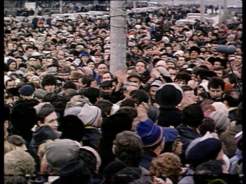 Yeltsin Critical speech about Gorbachev Boris Yeltsin in crowd shaking hands Yeltsin's speech before congress