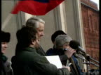 Moscow TGV Mass crowd demonstration with banners TMS Ditto more MS Photograph of Andrei Sakharov late human rights campaigner carried MS Photograph...
