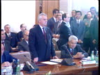Yeltsin/Kravchuk talks C4N Kiev MS Leonid Kravchuk standing speaking TGV Meeting PAN RL more ditto TMS Delegates sitting as one looking through...
