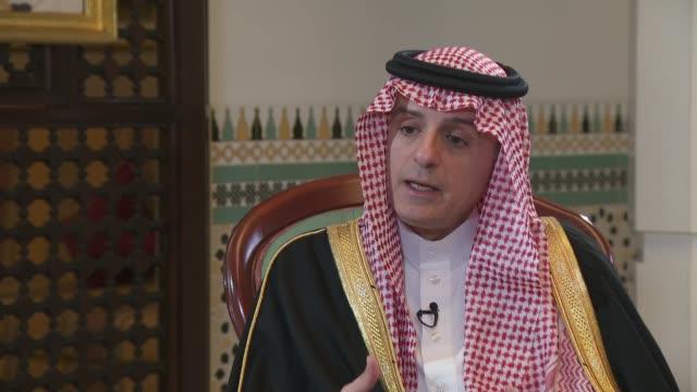Adel alJubeir interview ENGLAND London Croydon INT Adel alJubeir interview SOT re ceasefire in Yemen bombing of funeral