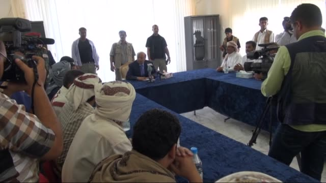 Yemeni president Abd Rabbuh Mansour Hadi who was under house arrest by Houthis for weeks meets with a delegation from Seba region on March 01 2015 in...