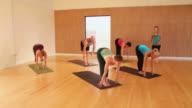 WS Yoga instructor leading class through various advanced yoga poses / Austin, Texas, USA