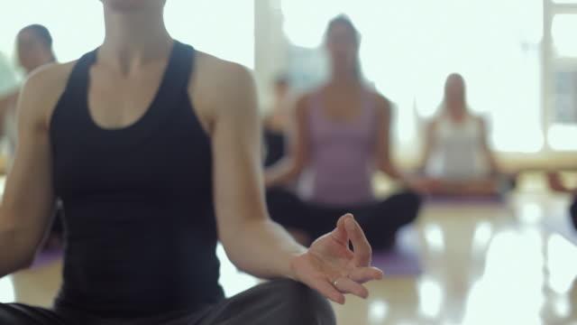 MS TU R/F Yoga students practicing yoga in yoga studio / Vancouver, British Columbia, Canada