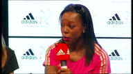 Yohan Blake Adidas press conference CampbellBrown question and answer session SOT Veronica CampbellBrown posing with Adidas shoe