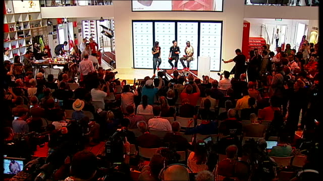 Yohan Blake Adidas press conference ENGLAND London Stratford INT *** WARNING Yohan Blake introduced onto stage SOT / Yohan Blake SOT thanks Adidas...